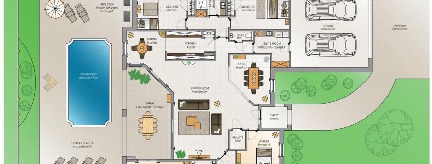 Villa FloridaDream, Grundriss Plan